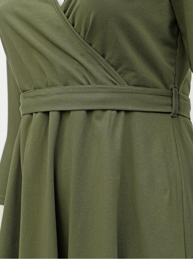 Khaki šaty s překládaným výstřihem Dorothy Perkins Curve