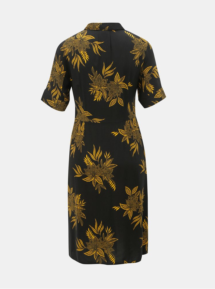 Žluto-černé květované košilové šaty Dorothy Perkins