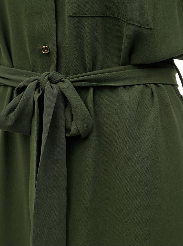 Tmavě zelené košilové šaty s kapsou Dorothy Perkins