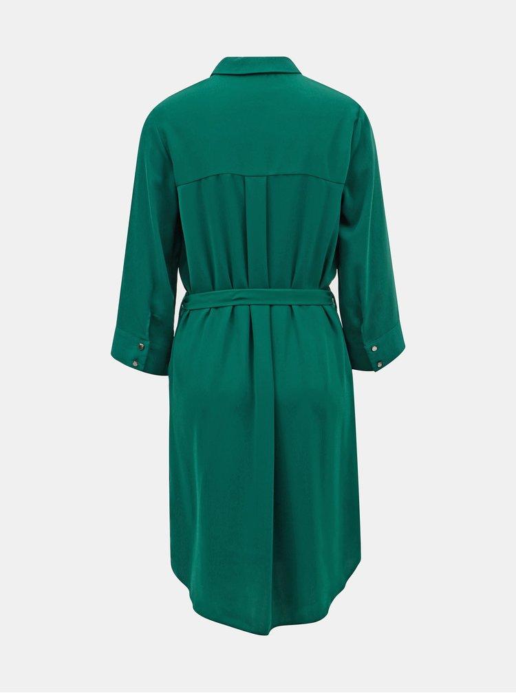 Tmavě zelené košilové šaty s páskem Dorothy Perkins