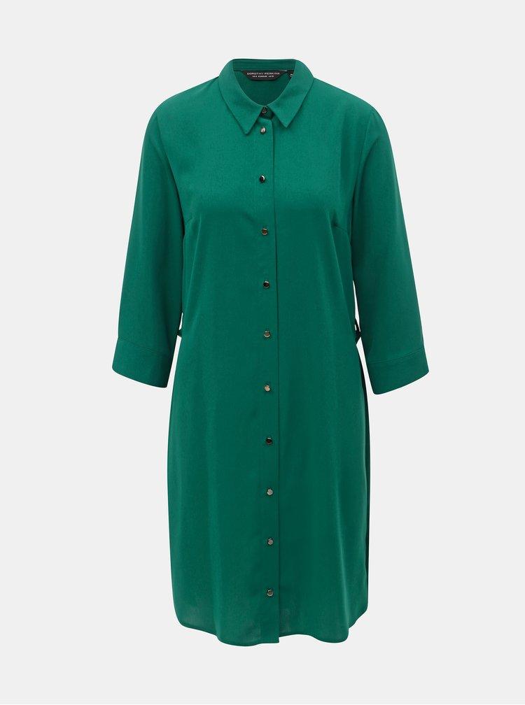 Tmavozelené košeľové šaty s opaskom Dorothy Perkins