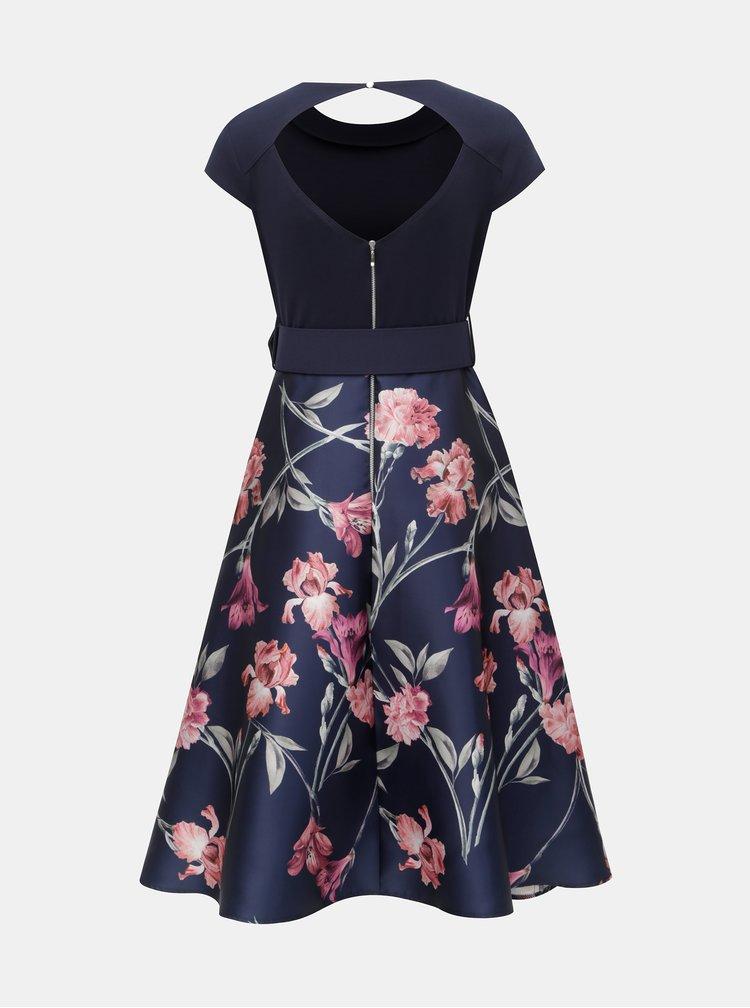 Tmavomodré kvetované šaty s prestrihom na chrbte Dorothy Perkins
