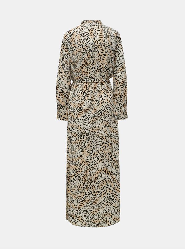 Černo-béžové košilové maxišaty s leopardím vzorem Dorothy Perkins
