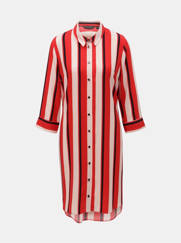 Červené pruhované košilové šaty s páskem Dorothy Perkins