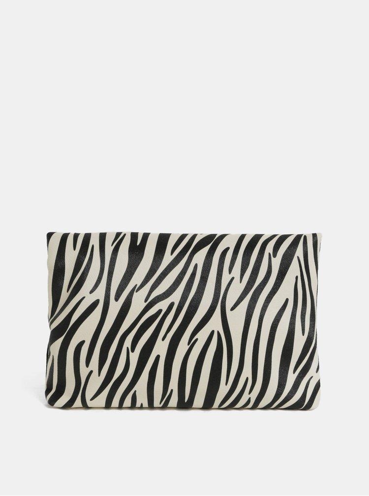 Geanta alb-negru peste umar cu motiv zebra Dorothy Perkins