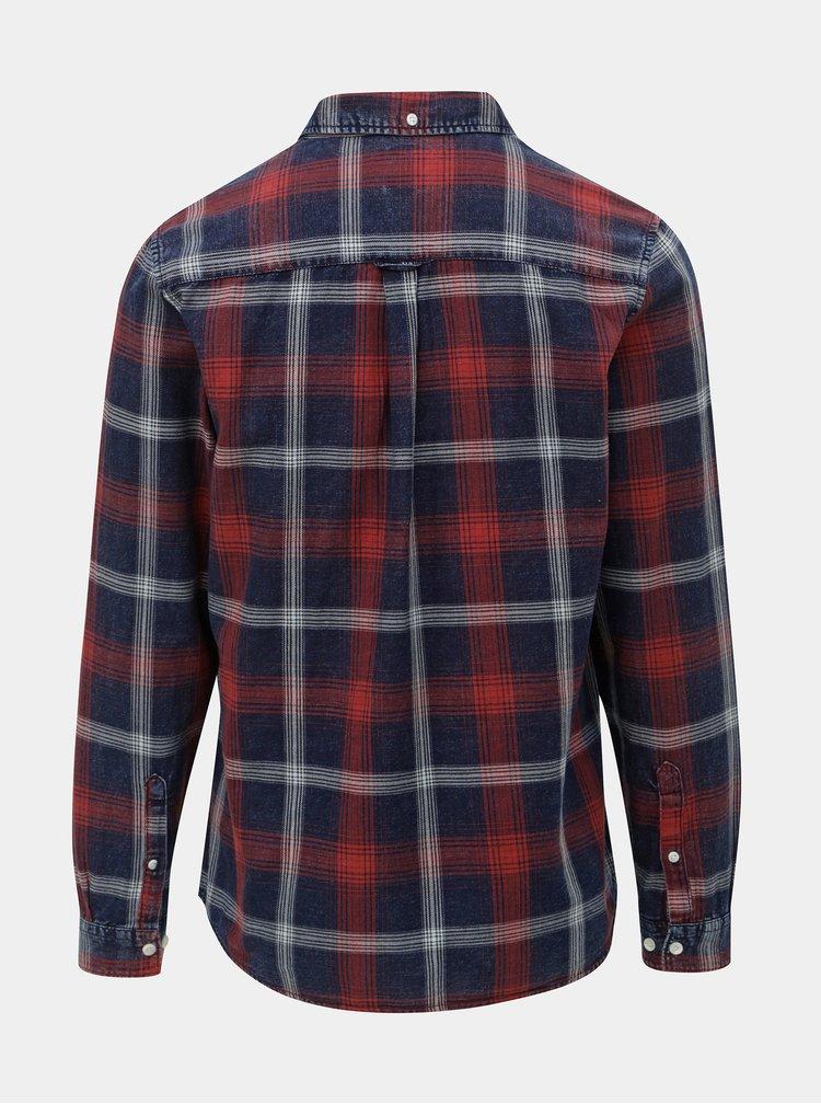 Červeno-modrá kostkovaná košile Burton Menswear London
