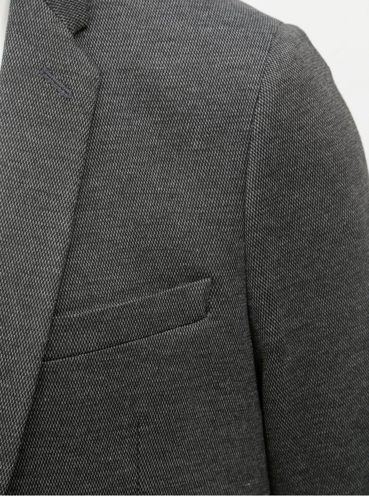 Sacou gri inchis melanj Burton Menswear London