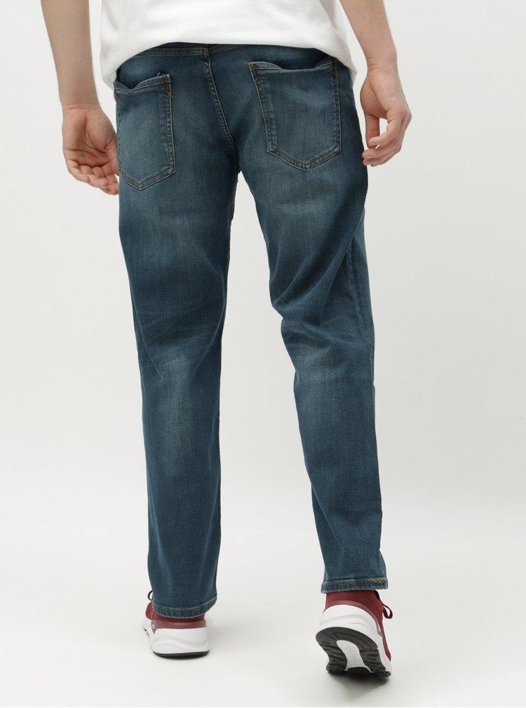 Blugi albastri straight cu curea Burton Menswear London