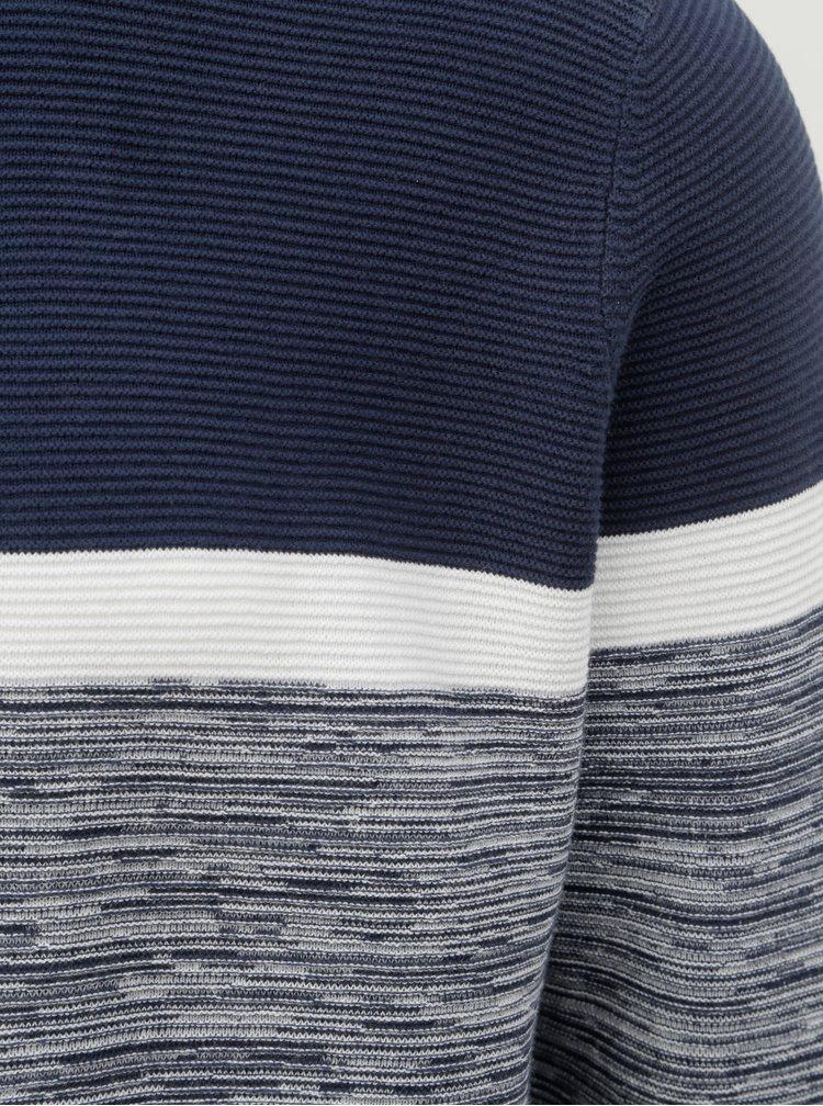 Pulover alb-albastru melanj Burton Menswear London