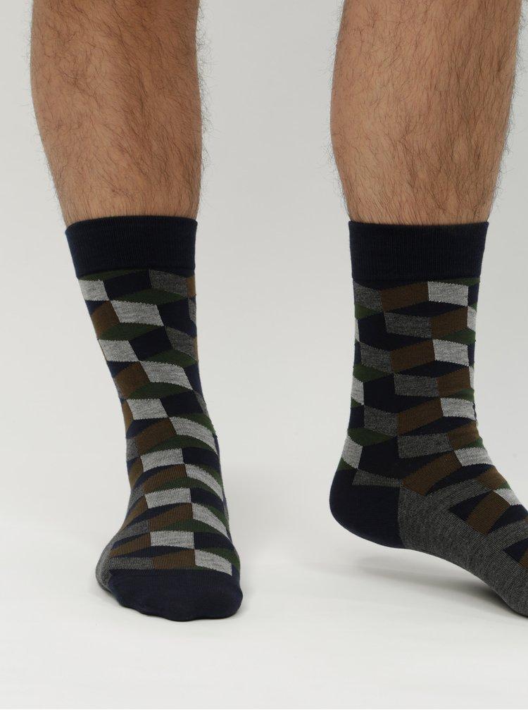 Balenie troch vzorovaných ponožiek v tmavomodrej farbe Burton Menswear London
