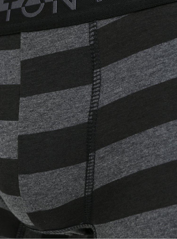 Sada tří boxerek v černé, šedé a vínové barvě Burton Menswear London