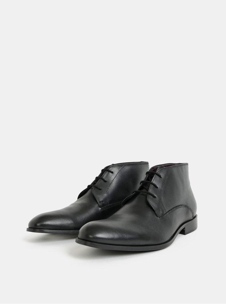 Černé pánské kožené kotníkové boty Burton Menswear London