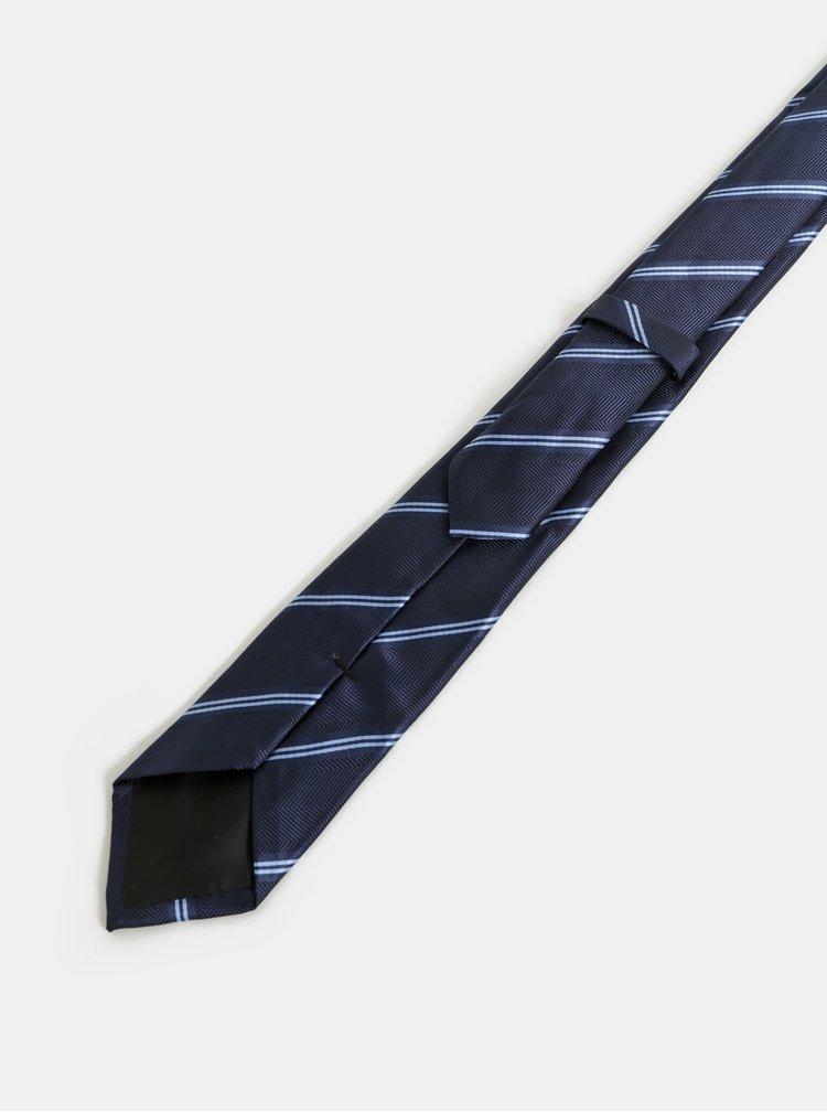 Cravata albastru inchis in dungi slim Burton Menswear London