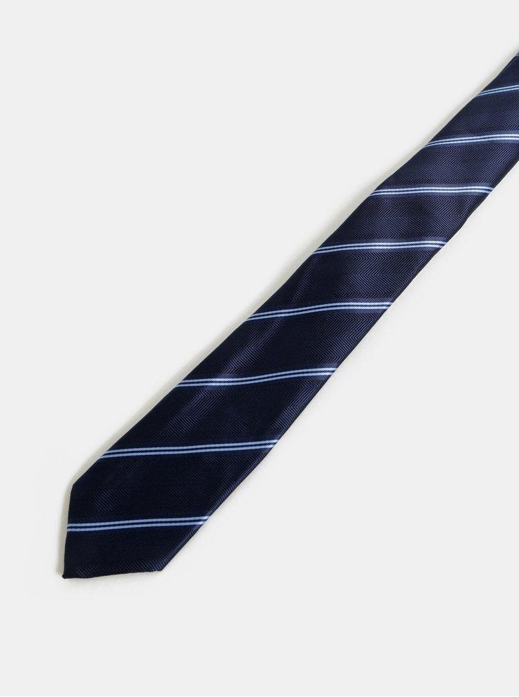 Tmavě modrá pruhovaná slim kravata Burton Menswear London