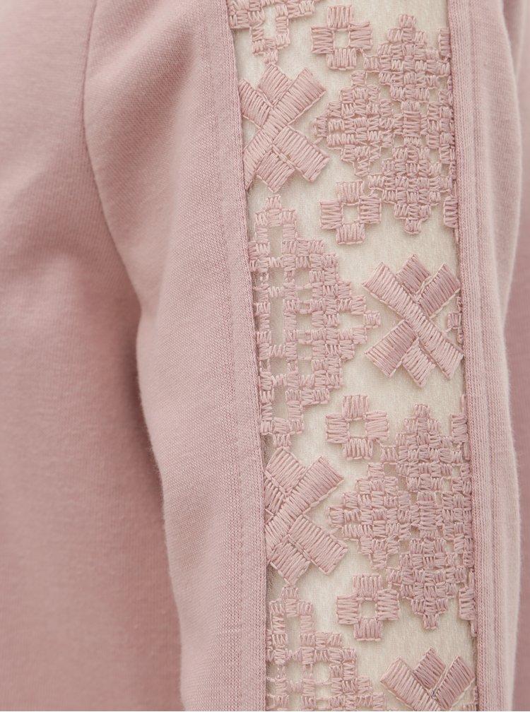 Růžové mikinové šaty s krajkovými detaily ONLY Mynte