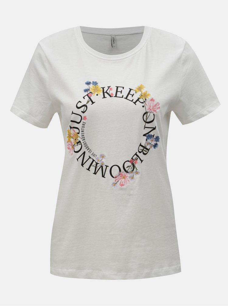 Biele tričko s výšivkou a potlačou ONLY Kita