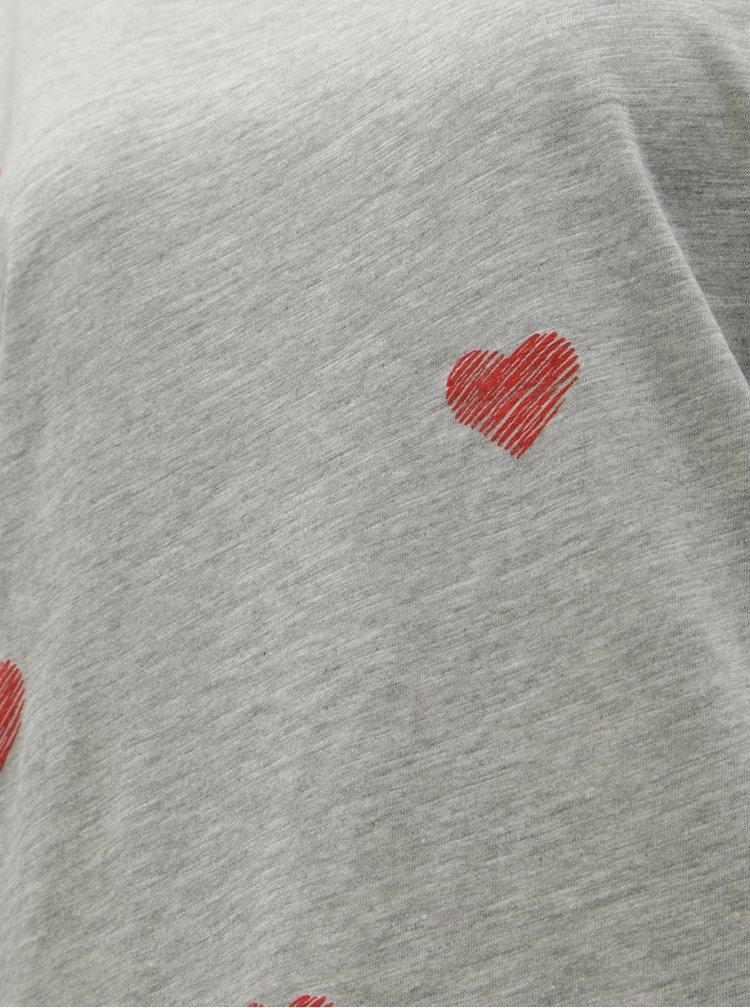 Tricou gri melanj cu imprimeu ONLY Bone