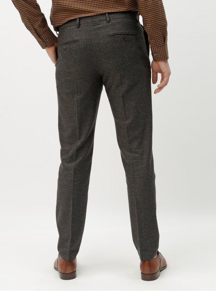 Pantaloni gri inchis melanj slim cu amestec de lana Selected Homme Damian
