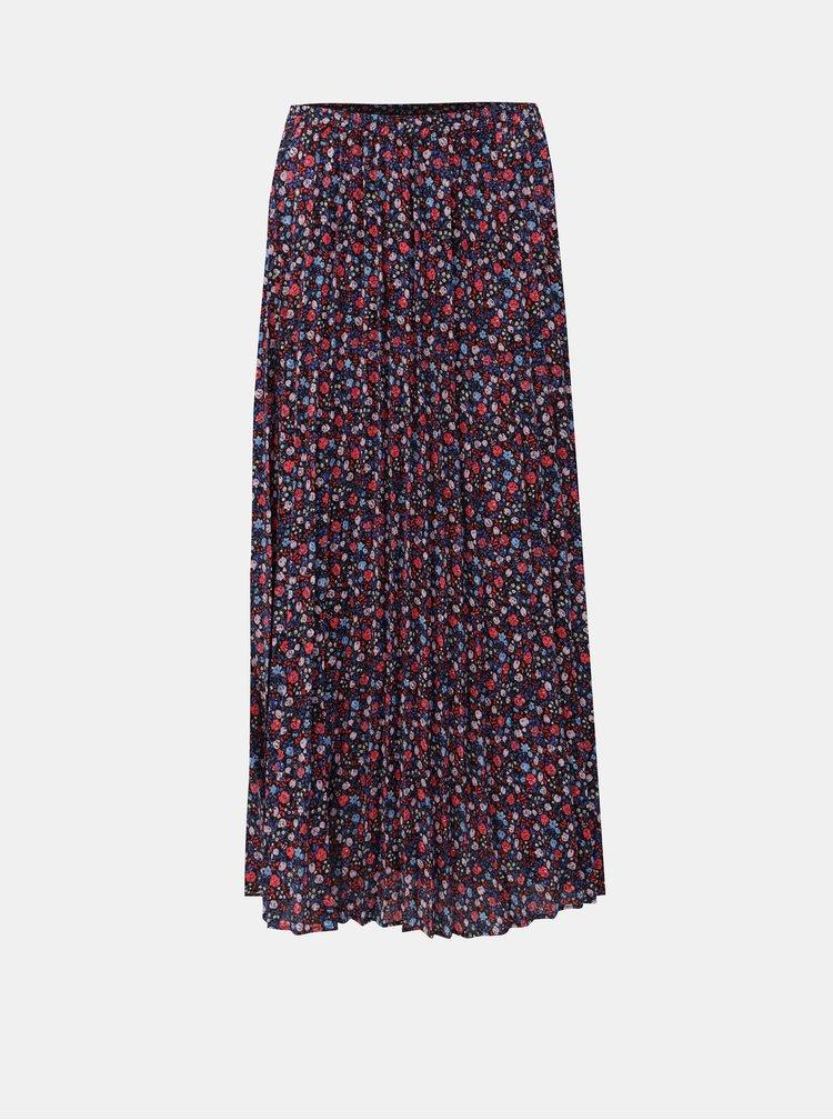 Modro-růžová plisovaná květovaná maxi sukně ONLY Phoebe