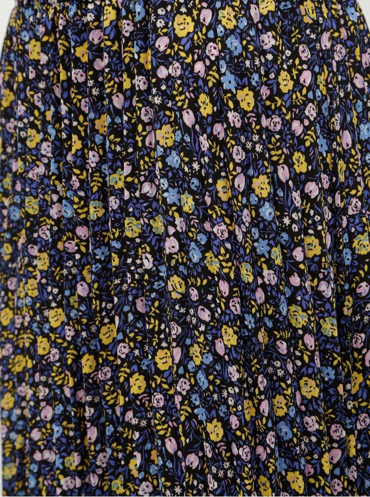 Fusta maxi plisata albastru-galben florala ONLY Phoebe