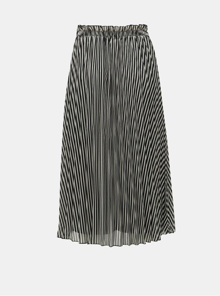 Bílo-černá pruhovaná plisovaná midi sukně ONLY Paige