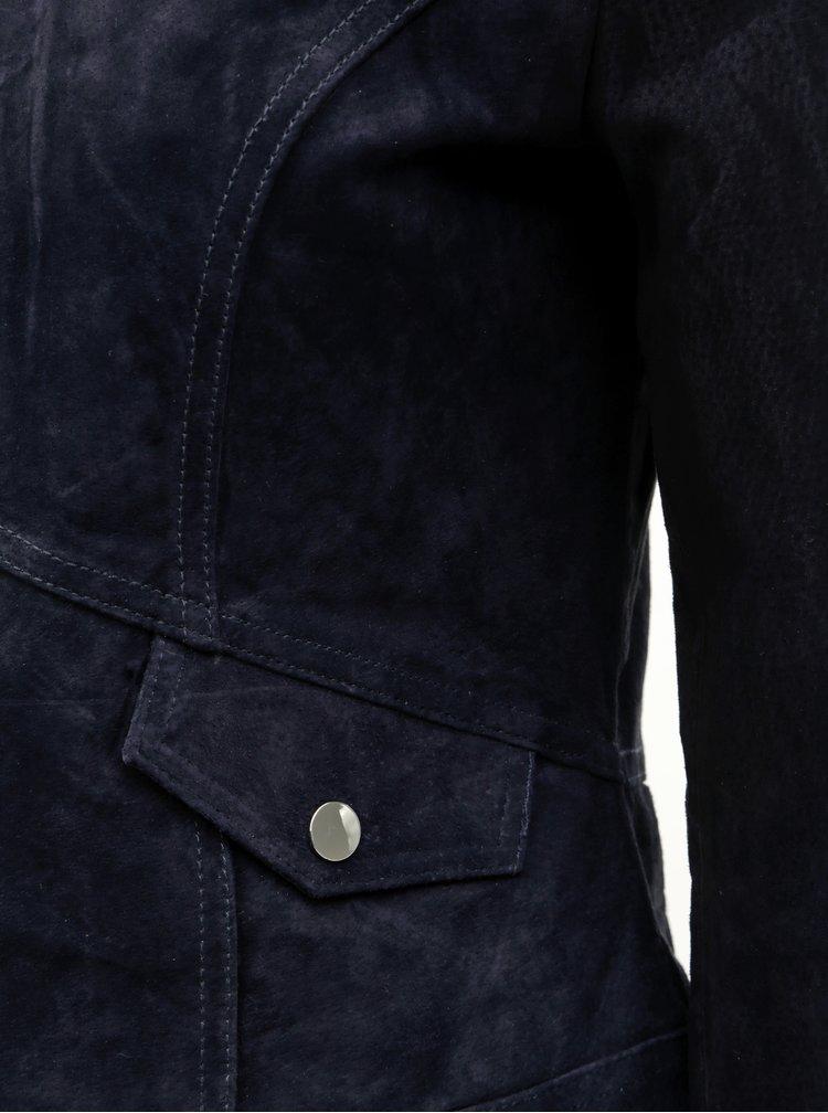 Tmavě modrá semišová bunda VERO MODA Manon