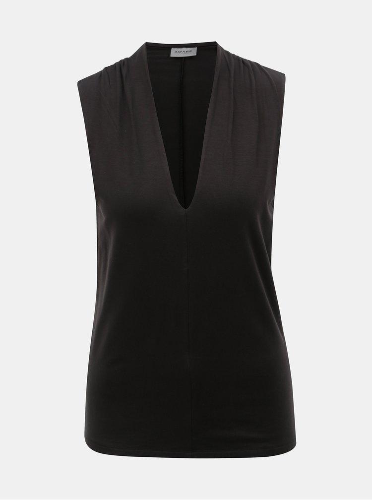 Černé tričko bez rukávů VERO MODA Gava