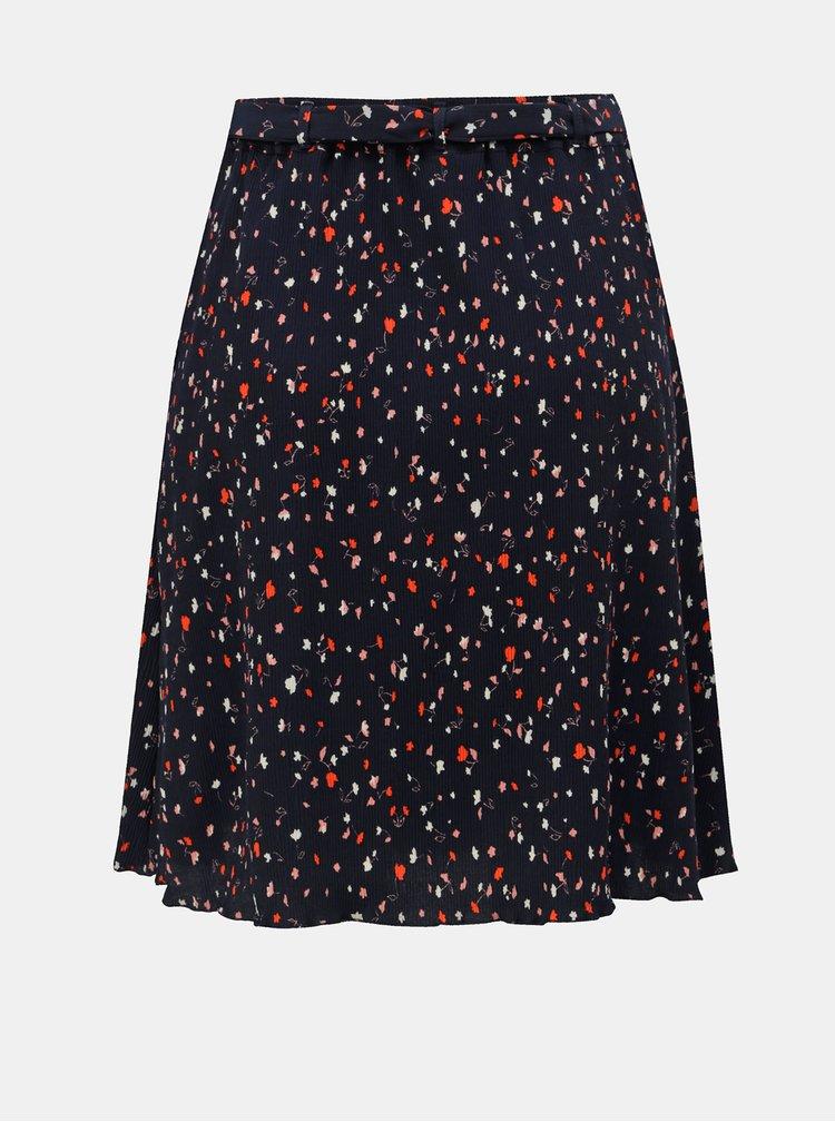 Tmavomodrá kvetovaná sukňa s opaskom VILA Atla