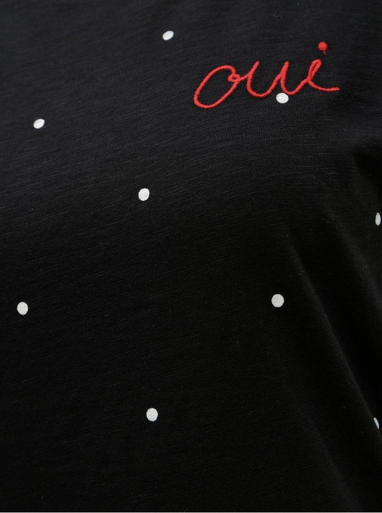 Černé puntíkované tričko s výšivkou ONLY Bone