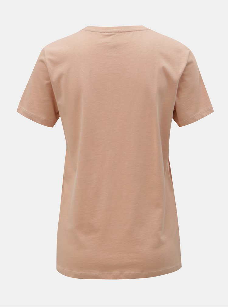 Růžové tričko s výšivkou a potiskem ONLY Kita