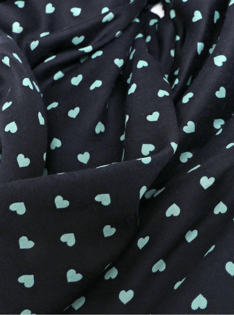 Tmavě modrý vzorovaný šátek VERO MODA Hearts