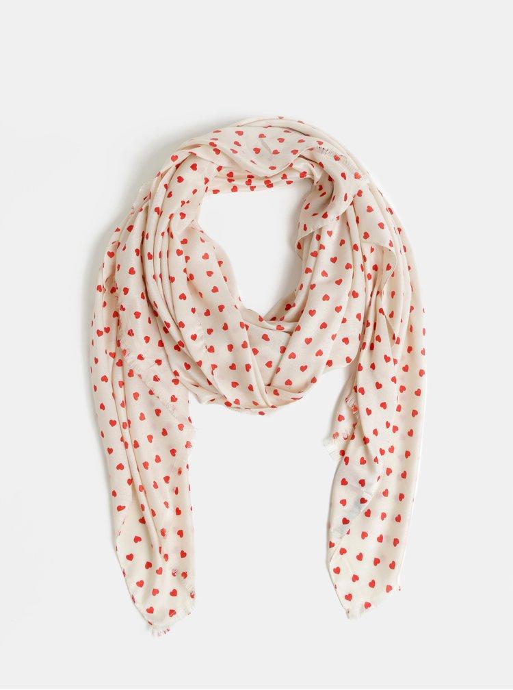 Krémový vzorovaný šátek VERO MODA Hearts