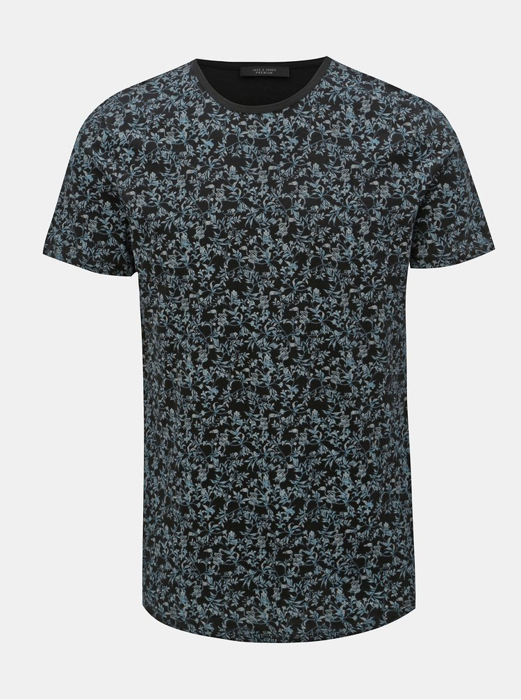 Tricou albastru-negru floral slim fit Jack & Jones Canton