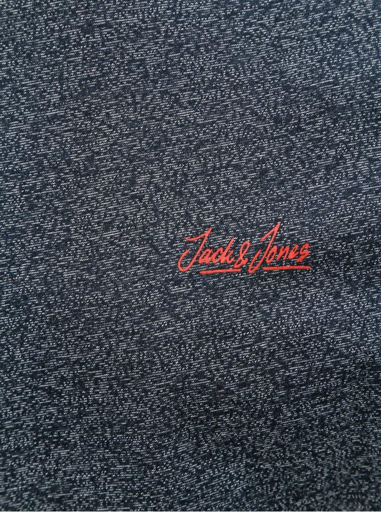 Tricou albastru inchis melanj slim Jack & Jones Gonzo