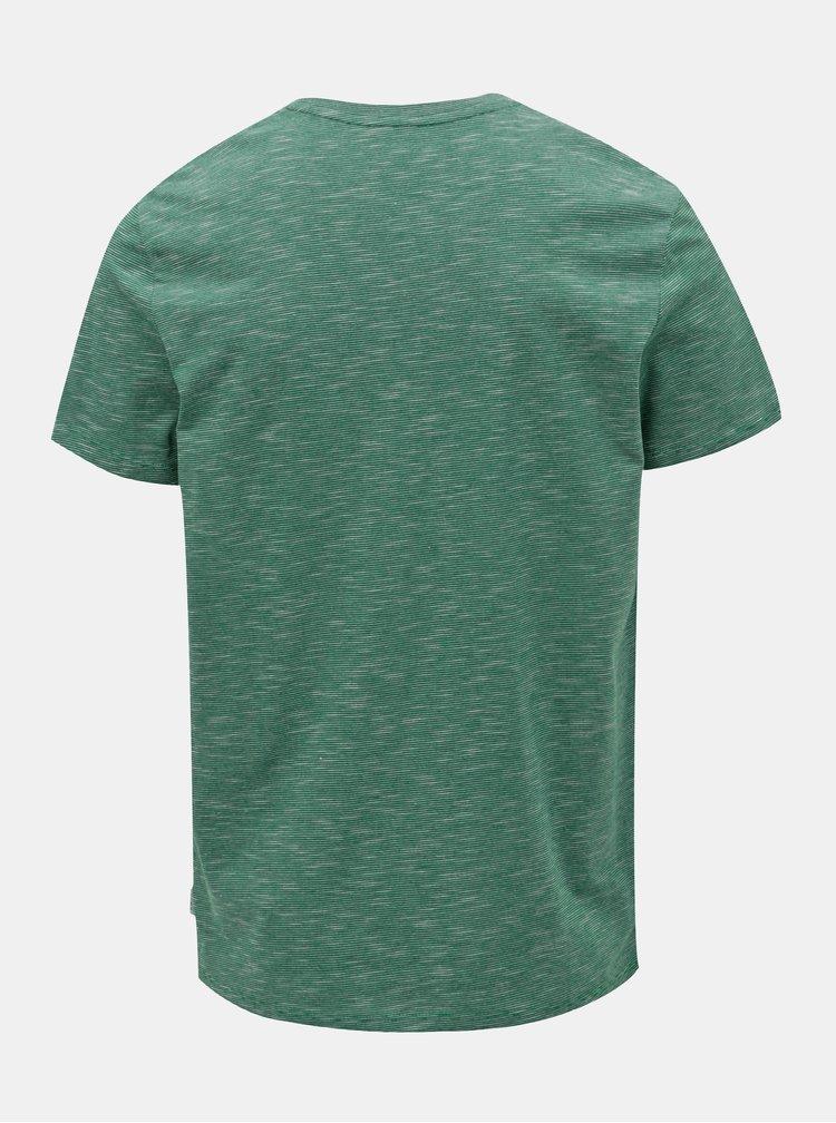 Zelené žíhané tričko s potiskem Jack & Jones Fresco