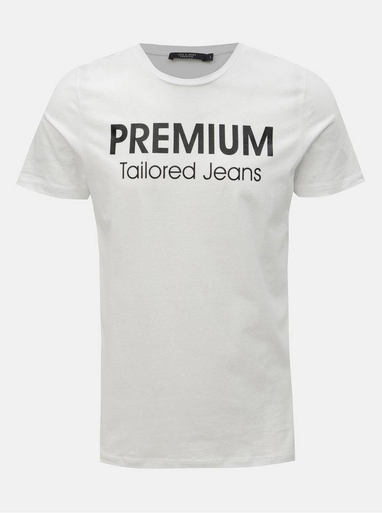 Tricou alb slim fit cu imprimeu Jack & Jones Logo