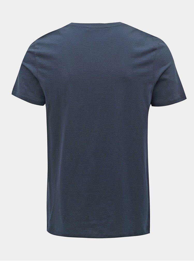 Tricou albastru inchis slim fit cu imprimeu Jack & Jones Logo