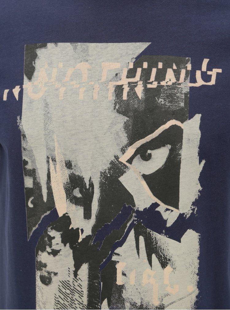 Tricou albastru inchis slim fit cu imprimeu Jack & Jones Mike