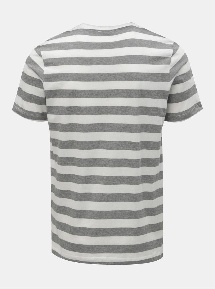 Tricou gri-alb in dungi slim fit Jack & Jones Normann