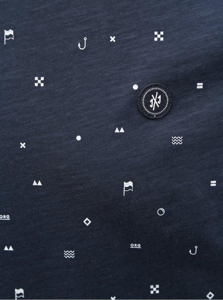 Tricou albastru inchis slim cu model Jack & Jones Crusoe