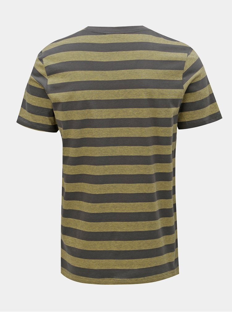 Tricou verde-gri in dungi slim fit Jack & Jones Normann