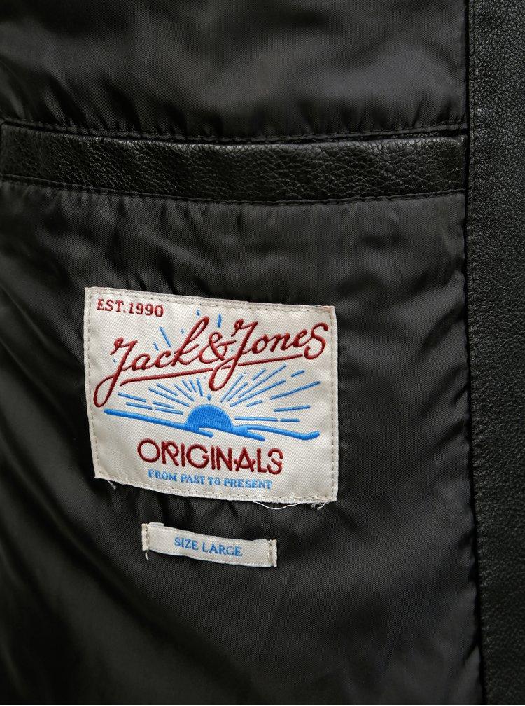 Čierna koženková bunda Jack & Jones Wheels
