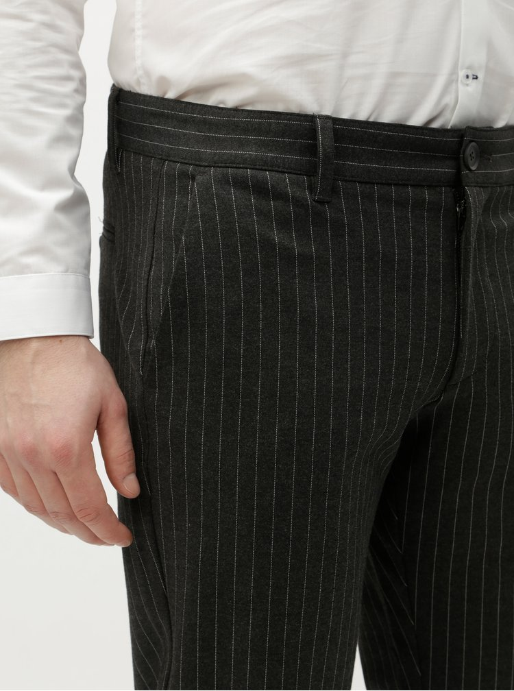 Pantaloni gri inchis in dungi ONLY & SONS Mark