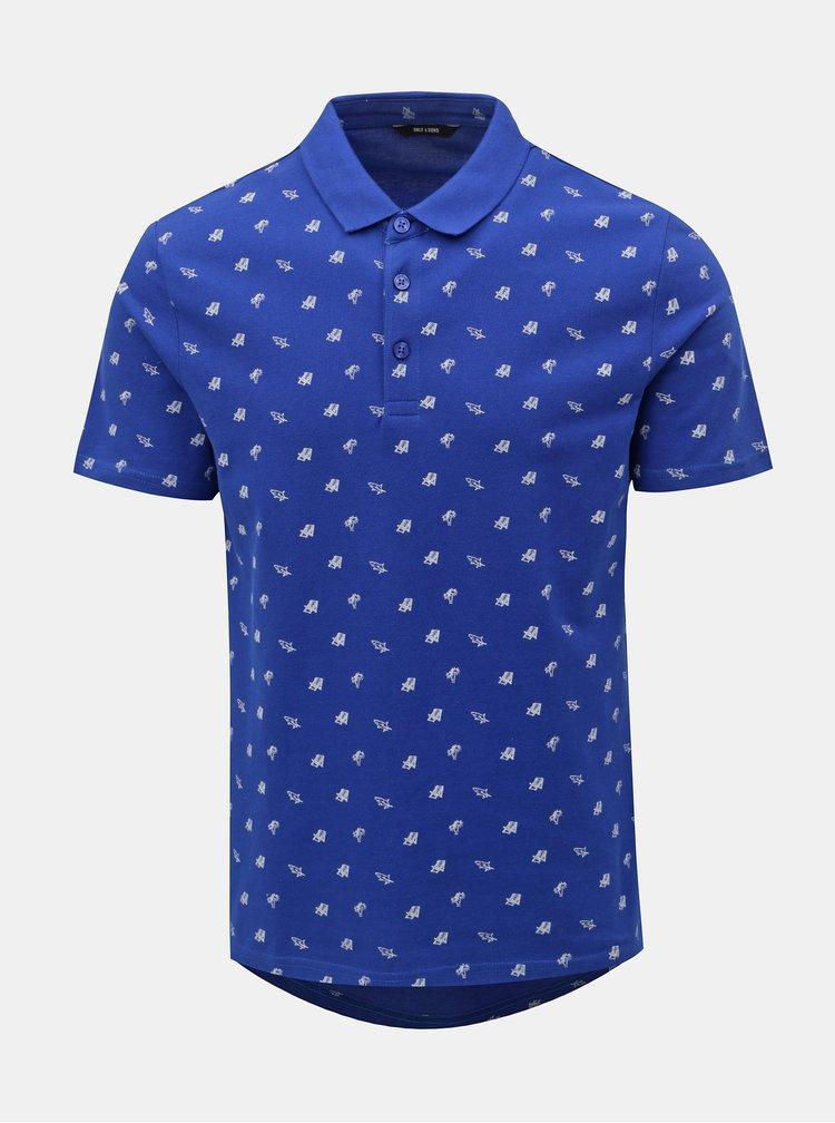 Tricou polo albastru cu motiv vara ONLY & SONS Flamingo