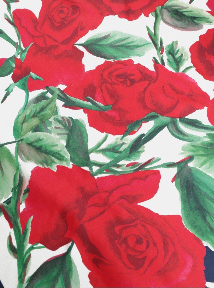 Modro-červený dámský květovaný hedvábný šátek GANT