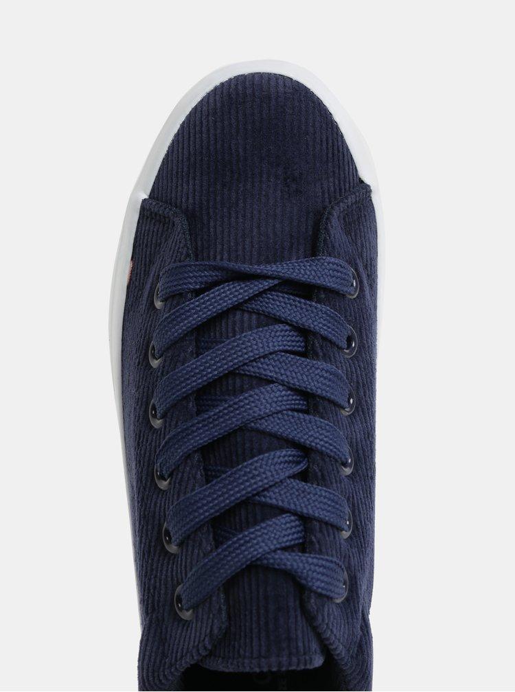 Tmavě modré manšestrové tenisky na platformě Pieces Carma
