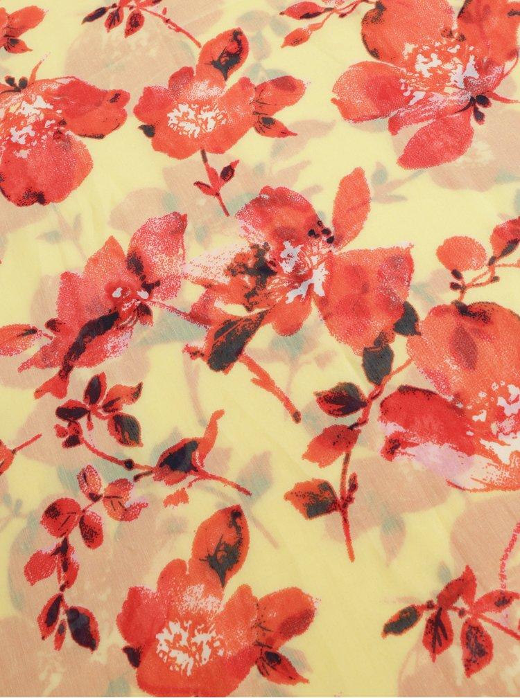 Červeno-žlutý květovaný dutý šátek Pieces Betty