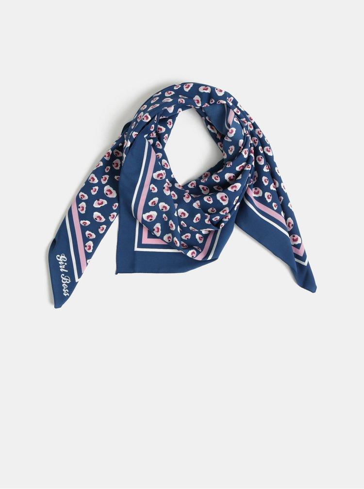 Růžovo-modrý vzorovaný šátek Pieces Briva