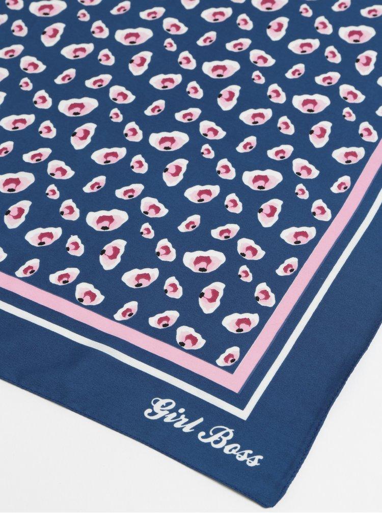 Esarfa roz-albastru cu model Pieces Briva