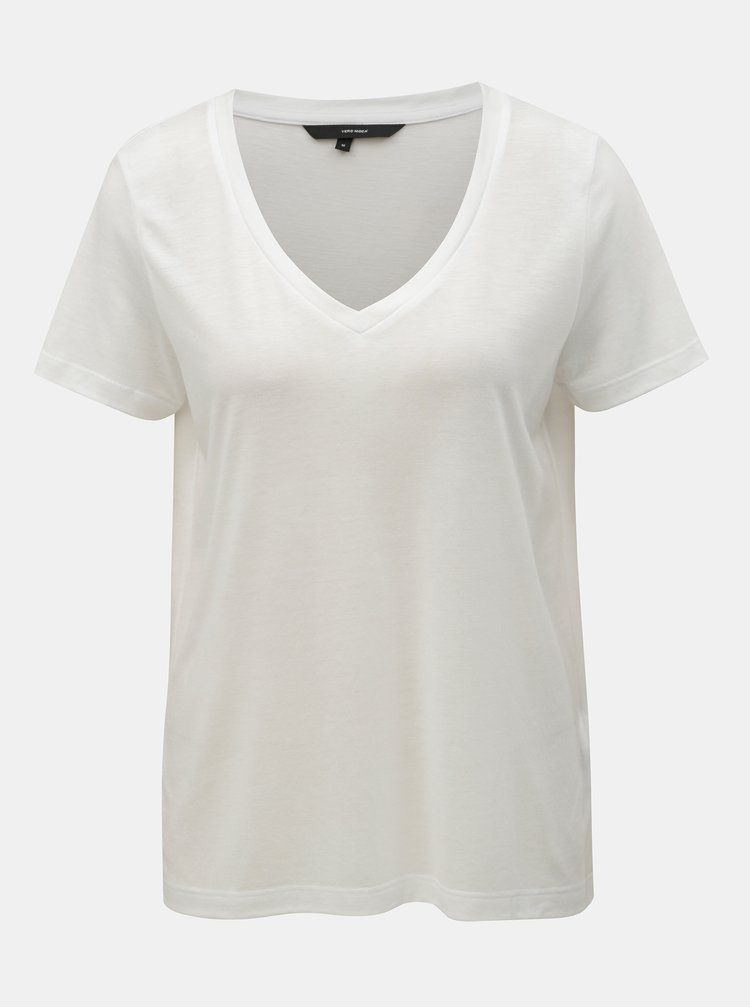 Bílé basic tričko VERO MODA Spicy